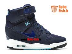 Nike Wmns Air Revolution Sky Hi GS - Chaussure Montante Nike Pas Cher Pour Femme Marine Midnight Bleu Blanc 599410-403
