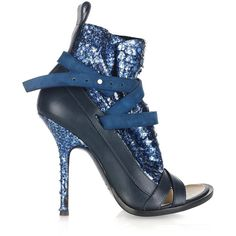 Thakoon Glitter snake-effect leather ankle boots via Polyvore