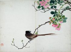 Bird sitting on a branch with pink flowers. Ink and colour on paper, by Ren Xiong. Jiangsu province, 1820 - 1857. EA1995.236.k © Ashmolean Museum