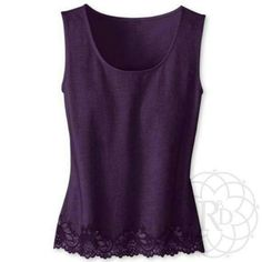 "Coldwater Creek Purple Lace Trim Tank Lovely Purple Lace Trim Tank.  ▪ CWC Size Small = Size 6 - 8  ▪ Bust: 37"" inches (unstretched)  All measurements are approximate.  Brand New with Tag. Never worn.  ✨ FINAL PRICE ~ NO OFFERS ✨    PRICE IS FIRM unless bundled     All Sales Final 