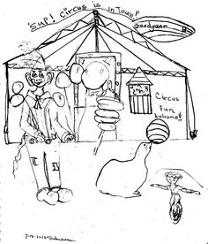 Circus Fun drawing.   Cute print for child's room or a birthday card.