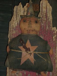"Primitive Grungy 12"" Halloween Pumpkin Witch Star Doll ~ Ro's Cluttered Attic #Primitive #RosClutteredAttic"