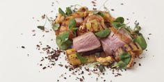 Duck breast salad with burnt coconut, pineapple and cashews - Matt Gillan Romanian Food, Romanian Recipes, Turkish Recipes, Duck Recipes, Goose Recipes, Easy Recipes, Salad Recipes, Healthy Recipes, Great British Chefs