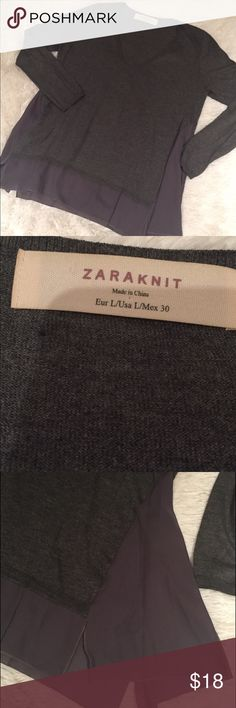 Zara Long Sleeve Knit Light weight v neck sweater. Slightly split at each side with see through panels! A great top with a European flair Zara Sweaters V-Necks