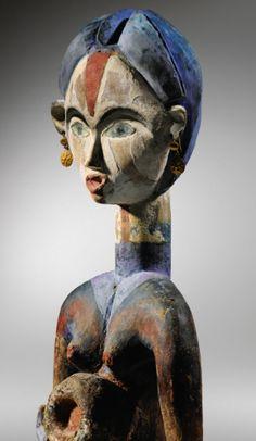 Buste, Lumbu, Gabon haut. 56 cm ; 22 in  Collection Jacques Viault, acquis dans la région de Mayumba (Gabon) ca. 1970