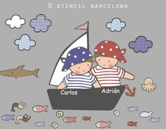 Vinilos infantiles: piratas niños Cartoon Pirate Ship, Funky Bedroom, Applique Quilt Patterns, Baby Boy Quilts, Patch Aplique, Cute Embroidery, Kids Birthday Cards, Pirate Theme, Baby Prints