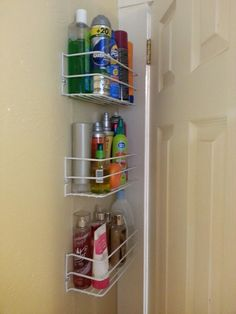 Behind The Door Storage In My Micro Sized Bathroom Wire Shelves 7 50