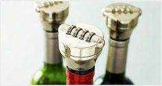 Keep your most valued wines and spirits safe from thirsty thieves with the combination wine bottle lock. Alcohol Bottles, Liquor Bottles, Does Wine Go Bad, Spiral Wine Cellar, Geek Gadgets, Wine Gadgets, Wine And Liquor, Wine And Spirits, Wine Gifts