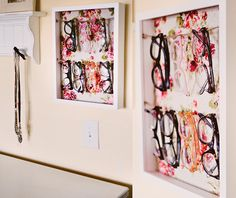 DIY EYEGLASSES DISPLAY  If you're anything like me, you might have a healthy eyewear collection. I've devised the perfect way to store and display all your specs!  Shadow box + fabric scrap + twine + staple gun = cute and convenient!