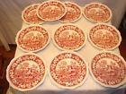 10 Copeland Spode Pink/Red Tower Dinner Plates-10 1/2 Older Mark