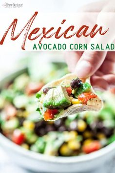 This Mexican Avocado Corn Salad is make-ahead easy. Just cut, toss, and chill until ready to serve. Can even be prepped the night before. It's an absolute hit at picnics, gatherings, or lunch. Perfect with crispy tortilla chips. #avocado #blackbean #cornsalad #mexican #limedressing #cornsalsa #cornsaladrecipe #cornsaladeasy #cornsaladmexican