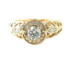 14K White Sapphire Ring Vintage Sapphire Engagement by RareEarth, $981.00