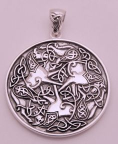 - Celtic 3 Horse Epona Goddess Pendant - in Solid .925 Sterling Silver. - Gorgeous details! Celtic knotwork adorns the Warrior horses. This item has a solid background. - This pendant is 3.31 cm or ap