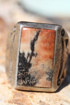 Old Navajo sterling silver & petrified wood ring. #navajo #ring #silver