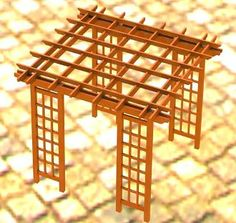 Pergola with Lattice Sides Building Plans (Copy) - DIY Backyard Metal Pergola, Pergola With Roof, Cheap Pergola, Covered Pergola, Pergola Shade, Patio Roof, Diy Pergola, Pergola Plans, Pergola Kits