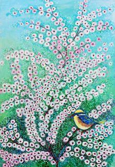 Flor de Cerejeira com Pássaro - Acrílica s/tela - 60 x 40 - 2015