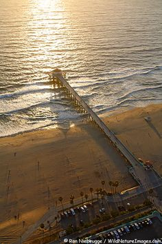 Aerial view of Manhattan Beach and Manhattan Beach Pier, California