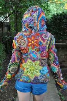 most definitely a work of textile art by Of Mars - colourful freeform crochet hoodie Crochet Hoodie, Crochet Coat, Crochet Jacket, Crochet Clothes, Motif Mandala Crochet, Freeform Crochet, Irish Crochet, Free Crochet, Knitting Patterns