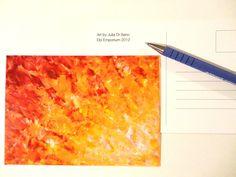 SALE - ART POSTCARD Brilliant Fire Cream Tangerine Blood Orange Explosion Burst Print of Ooak Abstract Acrylic Painting Stationery Greeting. $3.75, via Etsy.