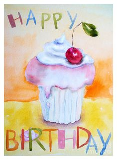 Cake With Insription Happy Birthday Painting  - Cake With Insription Happy Birthday Fine Art Print