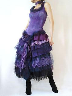Prom Gothic Fairy Dolly Doll Costume Bride Bridesmaid Purple Violet Black Tutu Lace Gown Dress Wedding Event Party (L / Custom Order)