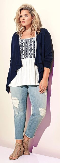 Plus Size Embroidered Top More