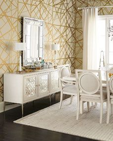 My Kelly Wearstler Wall Paper! I hadn't seen this color way used in a room yet, so it was hard to imagine what the final product would turn out like.Leslie Dining Furniture by Bernhardt at Horchow. Upholstered Furniture, Dining Room Furniture, Paper Furniture, Buffets, Kelly Wearstler Wallpaper, Beige Wallpaper, Foyer Wallpaper, Golden Wallpaper, Wallpaper Ideas