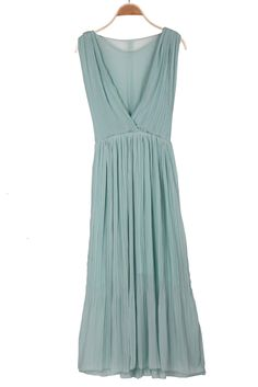 Turquoise V Neck Sleeveless Pleated Chiffon Dress - Sheinside.com