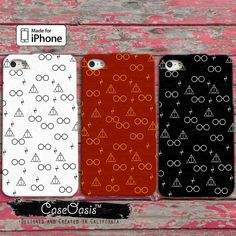 Harry Potter Inspired Pattern Glasses Scar Deathly Hallows Gryffindor iPhone 4/4s Case and 5/5s/5c Case and Wallet Case and iPhone 6 and 6 + by CaseOasis on Etsy