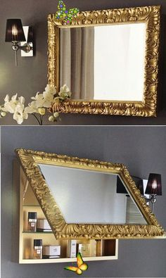 Flip Bathroom Mirror - Flip Bathroom Mirror Kitchen Decorating, Diy Kitchen, Do It Yourself Decoration, Diy Home Decor, Room Decor, Wall Decor, Room Art, Multifunctional Furniture, Modern Console Tables