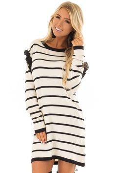 Wine and Cream Striped Long Sleeve Ruched Tunic Top front close up Cute Boutiques, Fabulous Dresses, Boutique Dresses, Black Stripes, Casual Dresses, Tunic Tops, My Style, Womens Fashion, Sweaters