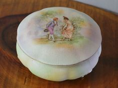 Royal Bayreuth Trinket Box Antique Powder Box by Collectitorium Green Backgrounds, Trinket Boxes, Pastel Colors, Stocking Stuffers, Valentine Gifts, Gifts For Her, Powder, Christmas Gifts, My Etsy Shop