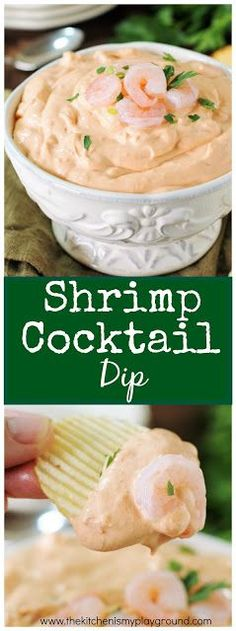 3-Ingredient Shrimp Cocktail Dip ~ a simple & easy dip loaded with #shrimp in every bite! A party and game day favorite. #gameday #dip #diprecipes www.thekitchenismyplayground.com