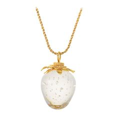 Steuben Lead Crystal Yellow Gold Strawberry Pendant Necklace | From a unique collection of vintage necklace enhancers at https://www.1stdibs.com/jewelry/necklaces/necklace-enhancers/