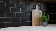 Metro Matt Black Wall Tile - Metro Wall Tiles from Tile Mountain Black Wall Tiles, Brick Backsplash Kitchen, Black Subway Tiles, Black Splashback, Black Tiles Kitchen, Black Backsplash, Black Walls, Bar Tile, Modern Industrial Living Room