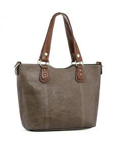 e244130714 Women Handbags Shoulder Tote PU Leather Top Handle Purses Large Capacity -  Dark Grey - C3186GNRLKX