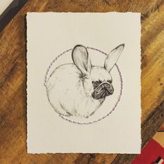 Pug Bunny Illustration with hand embroidered hand by LimbTrim