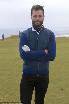 Looking good:Jamie Dornan at the Alfred Dunhill Links Golf Championships in Scotland
