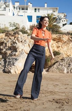 Denim Sailor Pants High waisted 1940's swing by LaVieEnSwing
