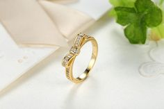 £11 - Ring, Gold Plated, Stacked, Bow Knot