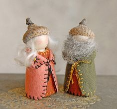 Gnome Couple  Waldorf Inspired  Peg Dolls by gingerlittle on Etsy, $30.00
