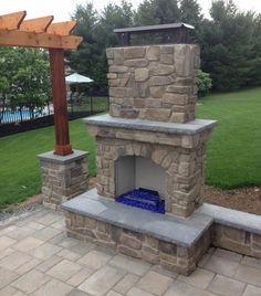 Gas fireplace with blue fireglass...