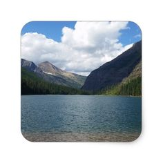 Bowman Lake - Glacier National Park Montana Square Sticker