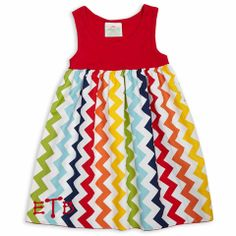 Red Rainbow Chevron Dress – Lolly Wolly Doodle #rileyblakedesigns #chevron