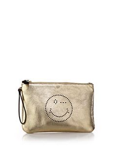 Anya Hindmarch - Smiley Winking Face Metallic Perforated Leather Wristlet