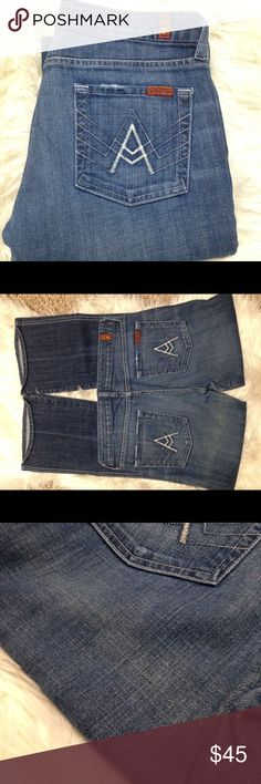 7 For All Mankind Denim APOCKET jeans 7FAMK A POCKET JEANS! In good condition besides below the left pocket has a bit of yellowing on it(if you see photos 2&3 you can see it better). SUCH GOOD JEANS OVERALL 7 For All Mankind Jeans Boot Cut