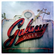 Galaxy vintage diner sign found on Route 66 Flagstaff AZ. Old Neon Signs, Vintage Neon Signs, Old Signs, Advertising Signs, Vintage Advertisements, Print Advertising, Advertising Campaign, Print Ads, Station Essence