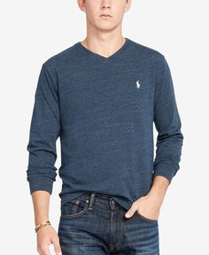 22591f0723bdb Polo Ralph Lauren Men's V-Neck Long-Sleeve Cotton Shirt & Reviews -  T-Shirts - Men - Macy's