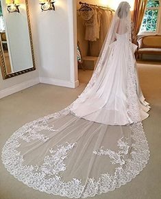 Aorme Ivory 1T Wedding Veils Cathedral Bridal Veils with Lace Edge (Veil-2 Ivory)