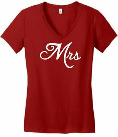 Mrs Misses Girlfriend Wife Couple s Juniors V-Neck Small Classic Red  ThisWear http   520e3e244
